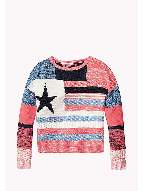 TOMMY HILFIGER Multi-Stripe Star Jumper - SPICED CORAL - TOMMY HILFIGER Girls - main image