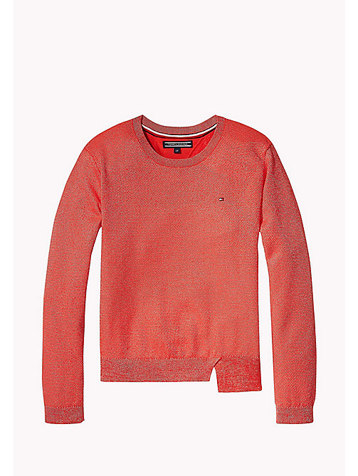 TOMMY HILFIGER Sparkly Crew Neck Jumper - FLAME SCARLET - TOMMY HILFIGER Girls - main image