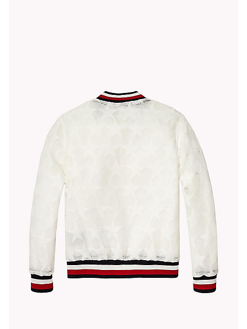 TOMMY HILFIGER Star Mesh Bomber Jacket - BRIGHT WHITE - TOMMY HILFIGER Girls - detail image 1
