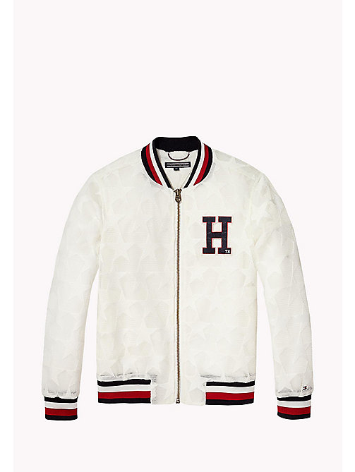 TOMMY HILFIGER Star Mesh Bomber Jacket - BRIGHT WHITE - TOMMY HILFIGER Girls - main image