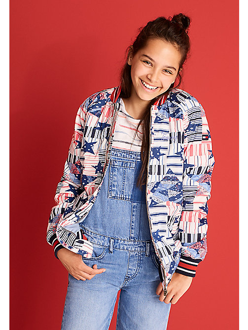 TOMMY HILFIGER Patchwork Star Bomber Jacket - MARSHMALLOW - TOMMY HILFIGER Girls - main image