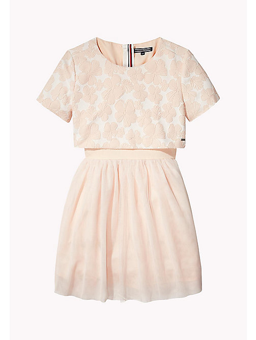 TOMMY HILFIGER Layered Jacquard Occasion Dress - PETAL PINK - TOMMY HILFIGER Dresses - main image