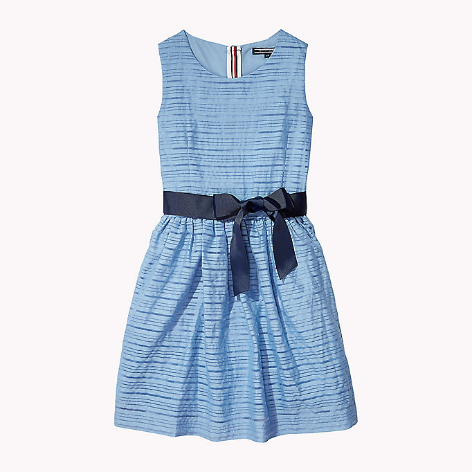 TOMMY HILFIGER Stripe Organza Bow Dress - PAPAYA PUNCH - TOMMY HILFIGER Kids - main image