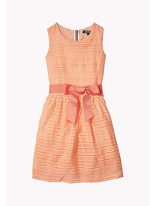 TOMMY HILFIGER Stripe Organza Bow Dress - PAPAYA PUNCH - TOMMY HILFIGER Dresses - main image