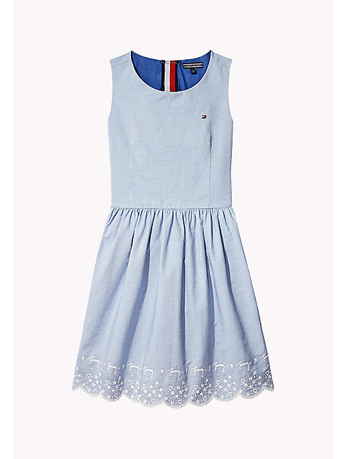 TOMMY HILFIGER Heart and Star Embroidered Dress - BRIGHT COBALT - TOMMY HILFIGER Girls - main image