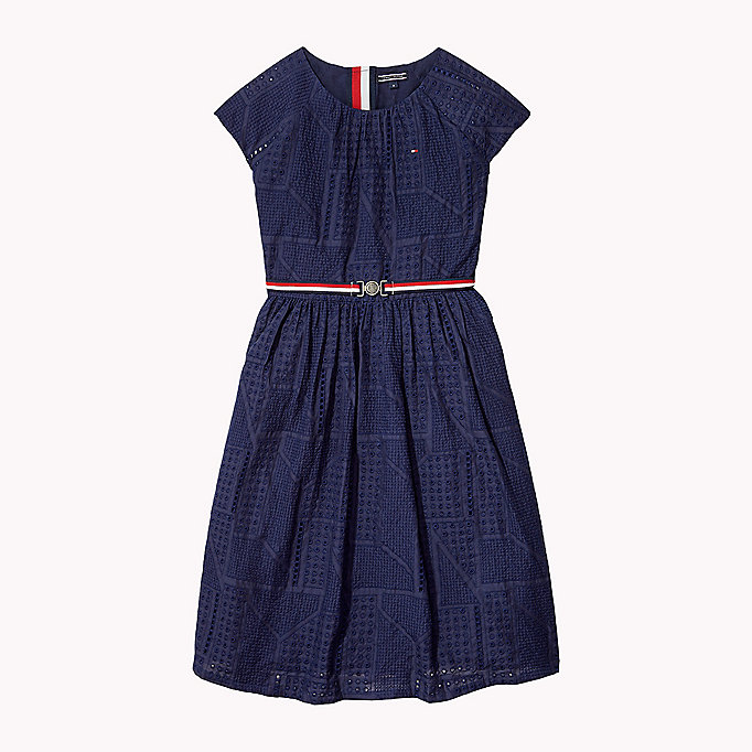TOMMY HILFIGER Pretty Shiffley Embroidered Dress - FLAME SCARLET - TOMMY HILFIGER Kids - main image