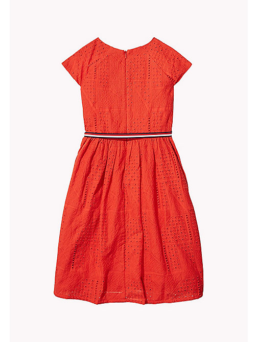 TOMMY HILFIGER Pretty Shiffley Embroidered Dress - FLAME SCARLET - TOMMY HILFIGER Girls - detail image 1