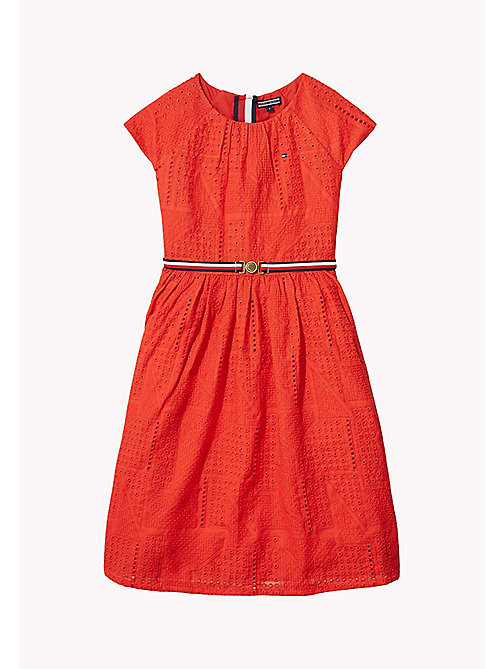 TOMMY HILFIGER Pretty Shiffley Embroidered Dress - FLAME SCARLET - TOMMY HILFIGER Girls - main image