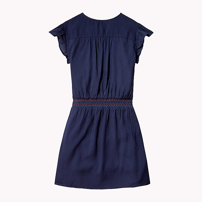 TOMMY HILFIGER Textured Shirred Waist Dress - FLAME SCARLET - TOMMY HILFIGER Kids - detail image 1