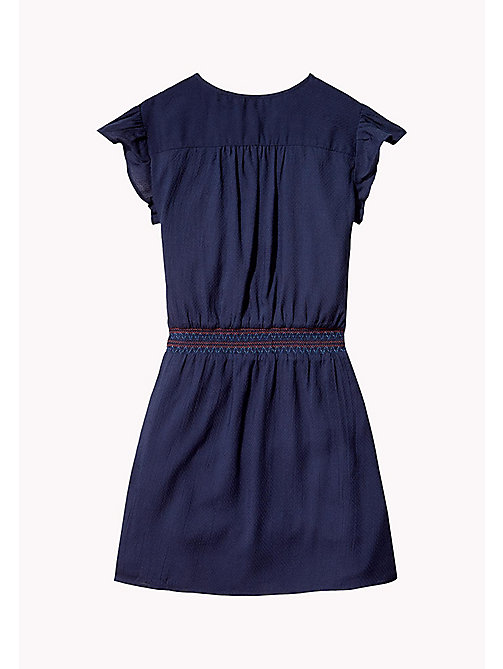 TOMMY HILFIGER Textured Shirred Waist Dress - BLACK IRIS - TOMMY HILFIGER Dresses - detail image 1