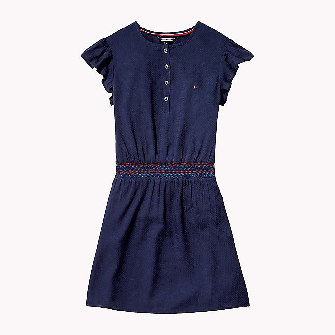 TOMMY HILFIGER Textured Shirred Waist Dress - FLAME SCARLET - TOMMY HILFIGER Kids - main image