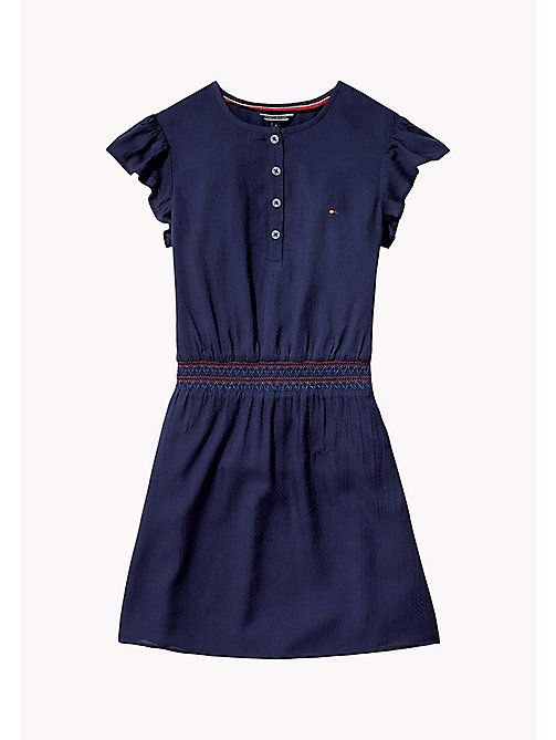 TOMMY HILFIGER Textured Shirred Waist Dress - BLACK IRIS - TOMMY HILFIGER Dresses - main image