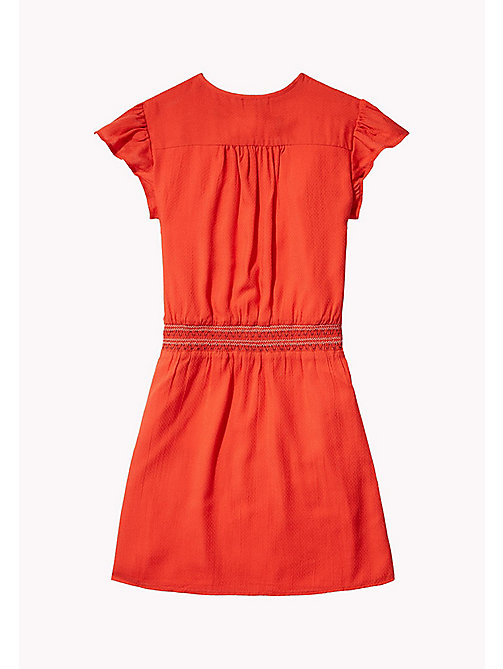 TOMMY HILFIGER Textured Shirred Waist Dress - FLAME SCARLET - TOMMY HILFIGER Girls - detail image 1