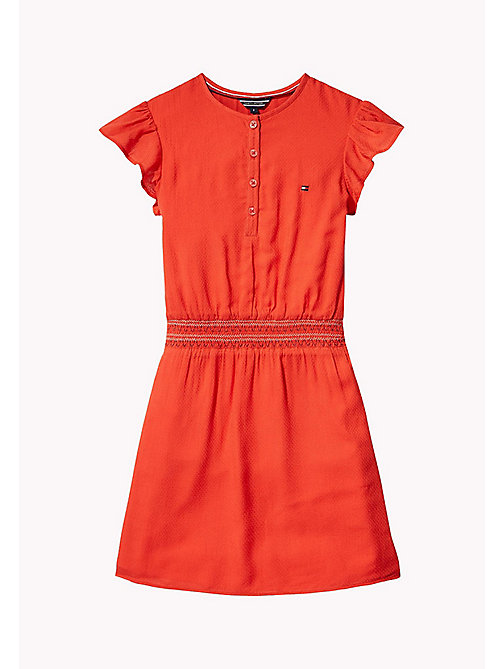 TOMMY HILFIGER Textured Shirred Waist Dress - FLAME SCARLET - TOMMY HILFIGER Girls - main image
