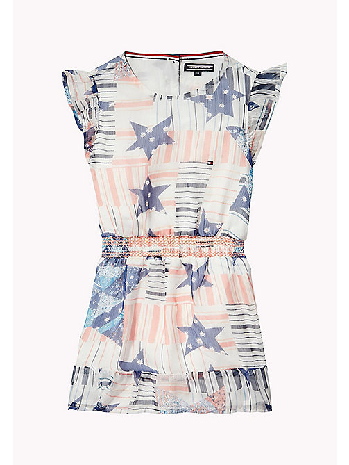 TOMMY HILFIGER Stars Print Dress - BRIGHT WHITE - TOMMY HILFIGER Girls - main image