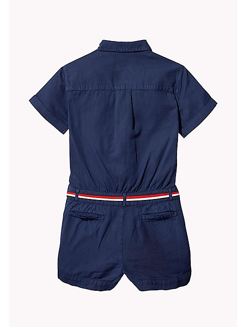 TOMMY HILFIGER Belted Cotton Playsuit - BLACK IRIS - TOMMY HILFIGER Girls - detail image 1
