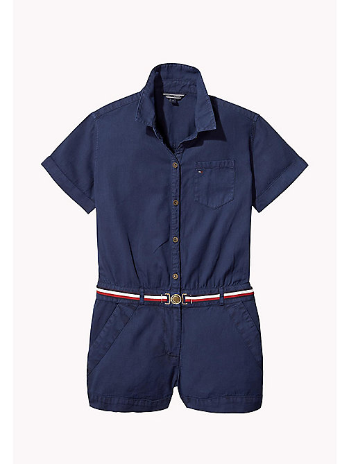 TOMMY HILFIGER Belted Cotton Playsuit - BLACK IRIS - TOMMY HILFIGER Girls - main image