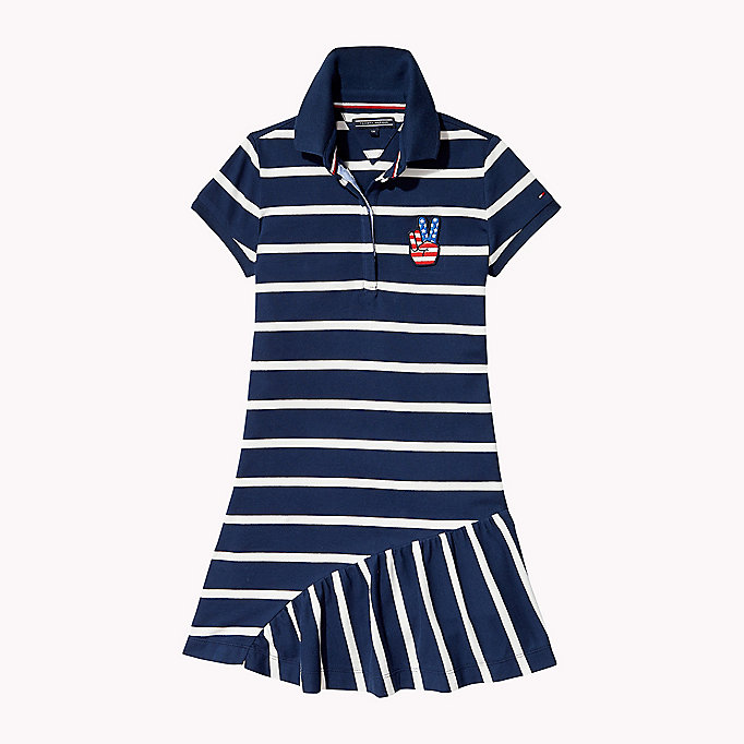 TOMMY HILFIGER Quirky Stripe Polo Dress - FLAME SCARLET - TOMMY HILFIGER Kids - main image