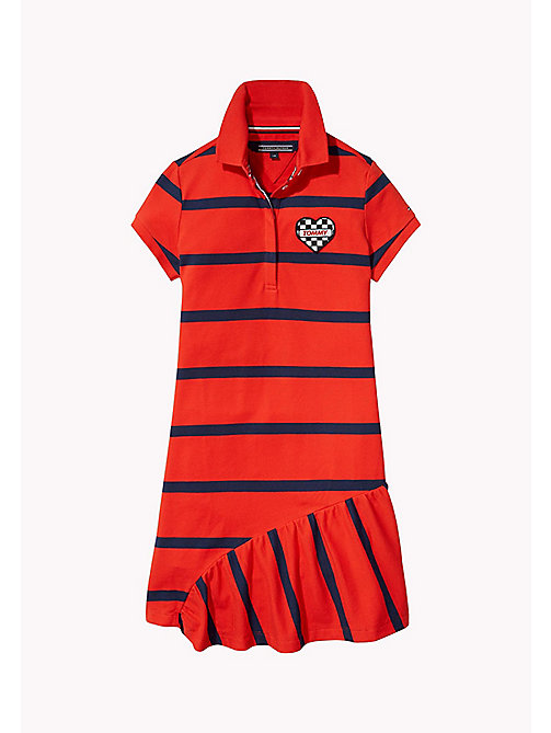 TOMMY HILFIGER Quirky Stripe Polo Dress - FLAME SCARLET - TOMMY HILFIGER Girls - main image