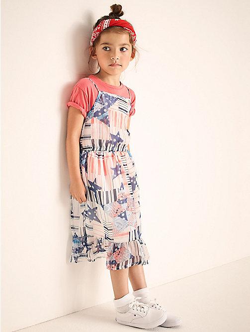 TOMMY HILFIGER Faded Star Print Maxi Dress - BRIGHT WHITE - TOMMY HILFIGER Girls - main image
