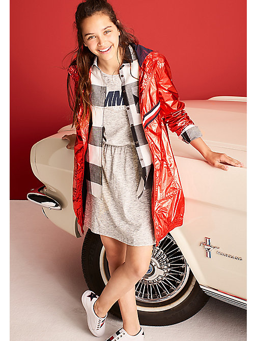 TOMMY HILFIGER Metallic Hooded Jacket - FLAME SCARLET - TOMMY HILFIGER Girls - main image