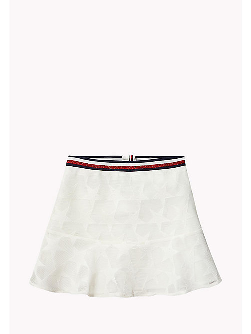TOMMY HILFIGER Star Embroidered Mesh Skirt - BRIGHT WHITE - TOMMY HILFIGER Trousers, Shorts & Skirts - main image