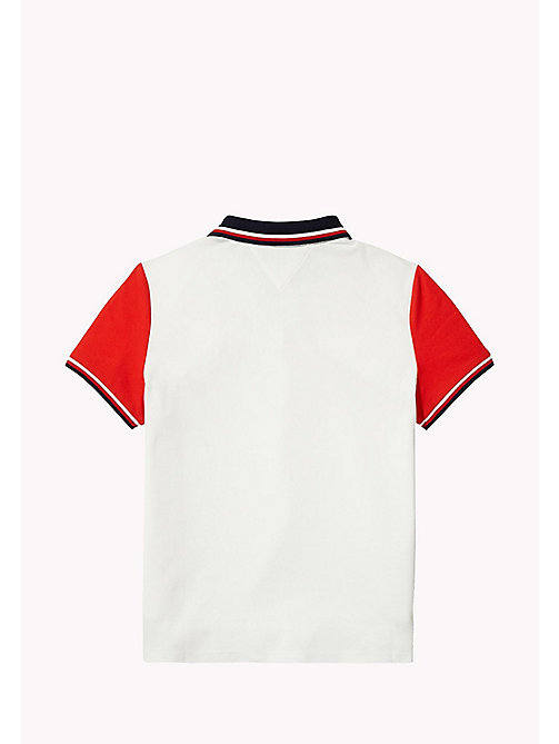 TOMMY HILFIGER Kids Colour-Blocked Polo - BRIGHT WHITE - TOMMY HILFIGER Girls - detail image 1