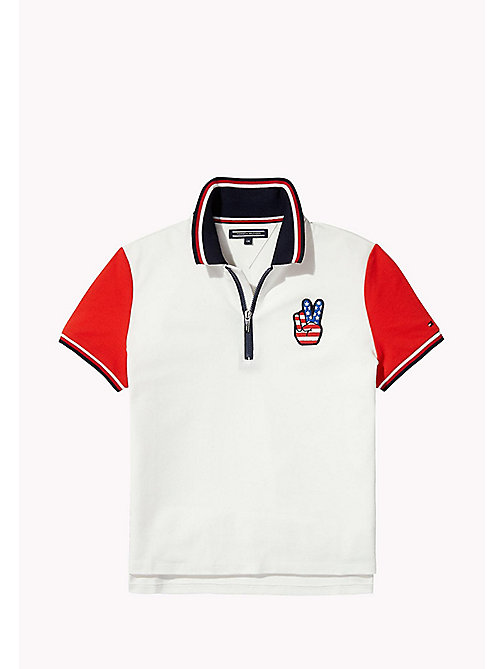 TOMMY HILFIGER Kids Colour-Blocked Polo - BRIGHT WHITE - TOMMY HILFIGER Girls - main image