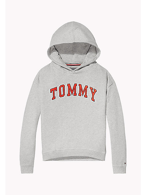 TOMMY HILFIGER Logo Appliqué Hoodie - LIGHT GREY HTR - TOMMY HILFIGER Sweatshirts & Hoodies - main image