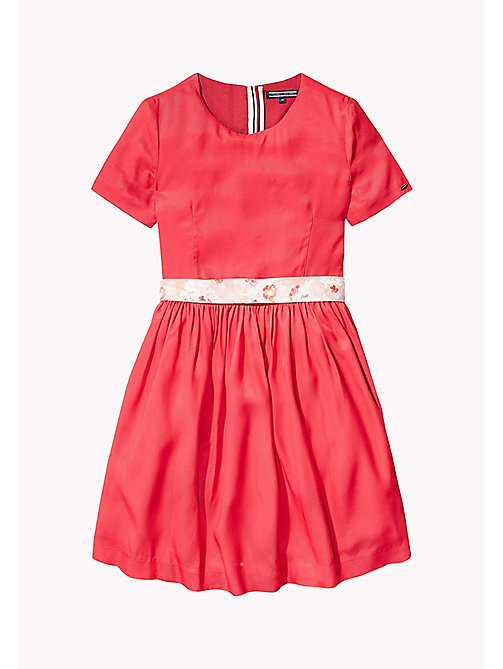 TOMMY HILFIGER Floral Waisted Classic Dress - BARBERRY 18-1760 - TOMMY HILFIGER Girls - main image