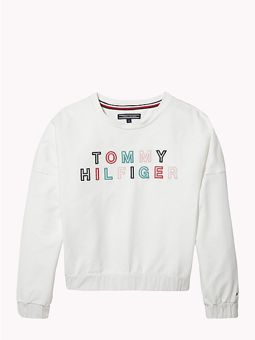 TOMMY HILFIGER Ruched Detail Logo Sweatshirt - BRIGHT WHITE - TOMMY HILFIGER Girls - main image