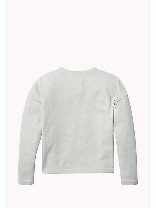 TOMMY HILFIGER Logo Crew Neck Jumper - LIGHT GREY HTR - TOMMY HILFIGER Knitwear - detail image 1