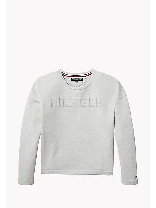 TOMMY HILFIGER Logo Crew Neck Jumper - LIGHT GREY HTR - TOMMY HILFIGER Knitwear - main image