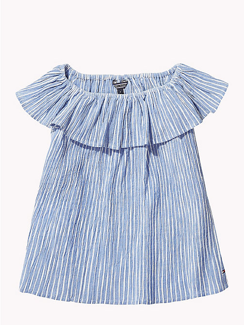 TOMMY HILFIGER Stripe Ruffle Top - STRONG BLUE / BRIGHT WHITE - TOMMY HILFIGER Girls - detail image 1