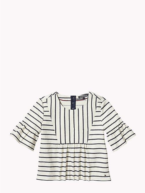 TOMMY HILFIGER Stripe Scoop Neck Top - BRIGHT WHITE/BLACK IRIS - TOMMY HILFIGER Tops & T-shirts - detail image 1