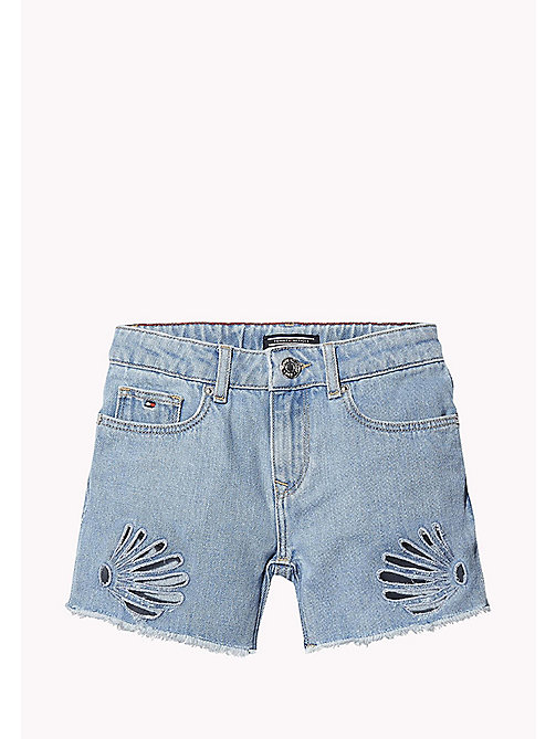 TOMMY HILFIGER Cutout Denim Shorts - SALT PEPPER RIGID - TOMMY HILFIGER Girls - main image