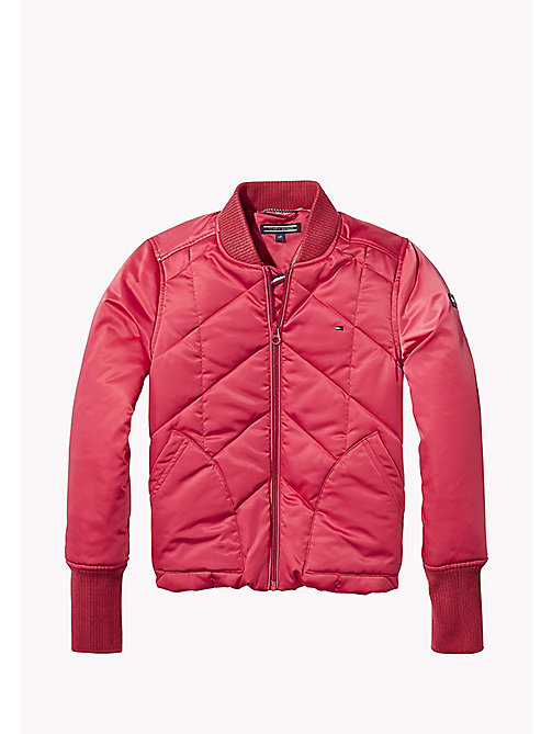 TOMMY HILFIGER Quilted Padded Satin Jacket - RASPBERRY WINE - TOMMY HILFIGER Girls - main image