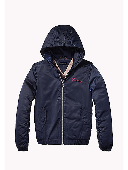 TOMMY HILFIGER Hooded Satin Bomber Jacket - BLACK IRIS - TOMMY HILFIGER Coats & Jackets - main image