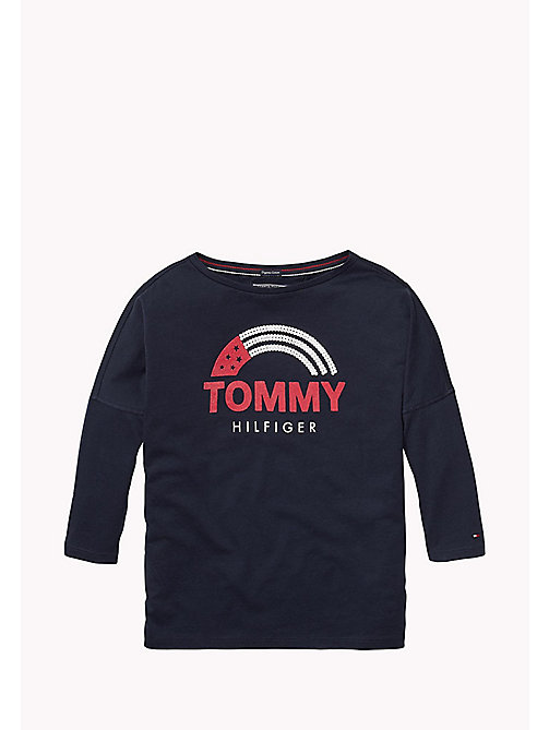 TOMMY HILFIGER Rainbow And Stars Logo Top - BLACK IRIS - TOMMY HILFIGER Girls - main image