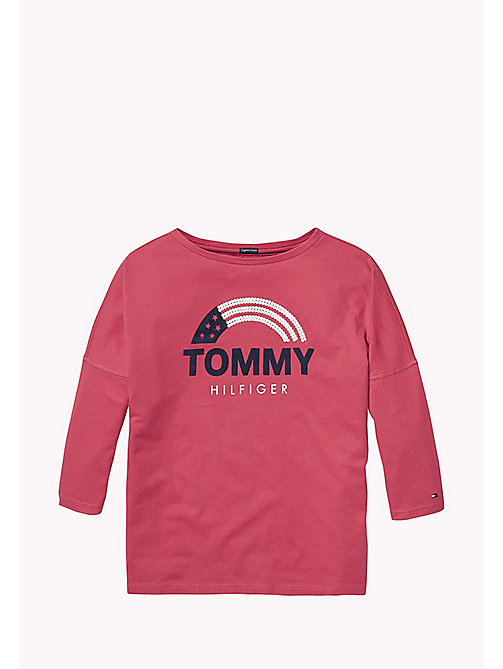 TOMMY HILFIGER Rainbow And Stars Logo Top - RASPBERRY WINE - TOMMY HILFIGER Girls - main image