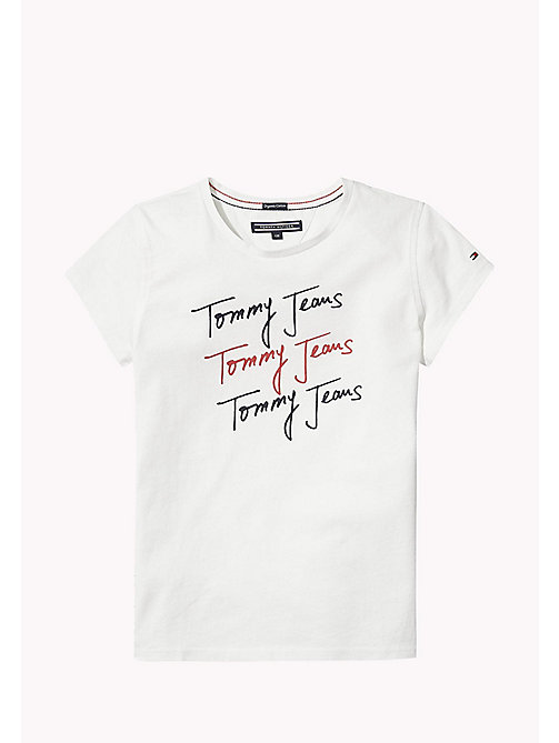 TOMMY HILFIGER Organic Cotton Signature Logo T-Shirt - BRIGHT WHITE - TOMMY HILFIGER Tops & T-shirts - main image