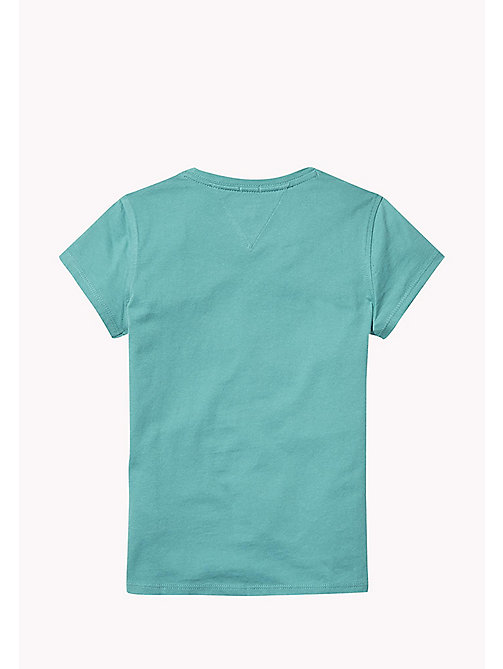 TOMMY HILFIGER Organic Cotton Signature Logo T-Shirt - GREEN-BLUE SLATE - TOMMY HILFIGER Girls - detail image 1