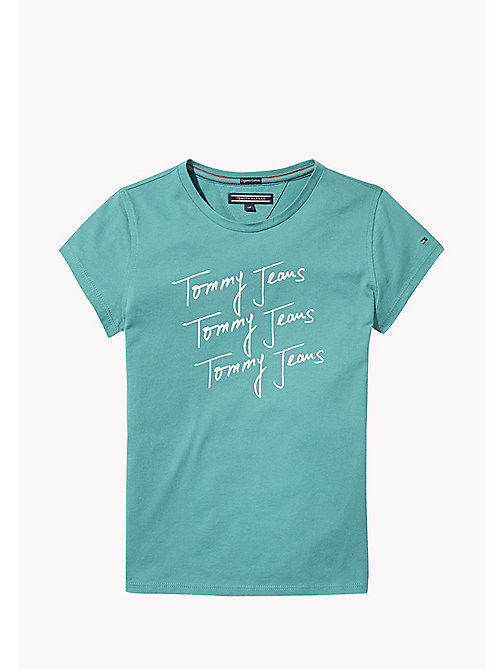 TOMMY HILFIGER Organic Cotton Signature Logo T-Shirt - GREEN-BLUE SLATE - TOMMY HILFIGER Tops & T-shirts - main image