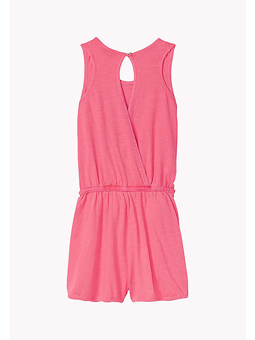 TOMMY HILFIGER Pure Cotton Neon Jumpsuit - NEON PINK - TOMMY HILFIGER Girls - detail image 1