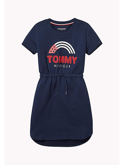 TOMMY HILFIGER Rainbow Logo Sweatshirt Dress - BLACK IRIS - TOMMY HILFIGER Girls - main image