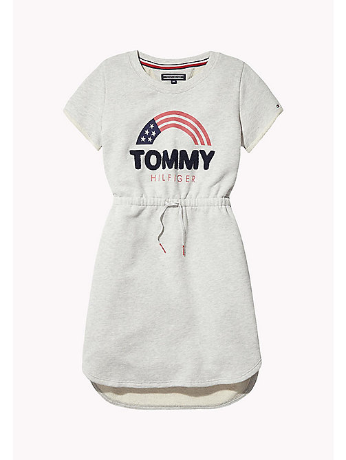 TOMMY HILFIGER Rainbow Logo Sweatshirt Dress - LIGHT GREY HTR - TOMMY HILFIGER Girls - main image