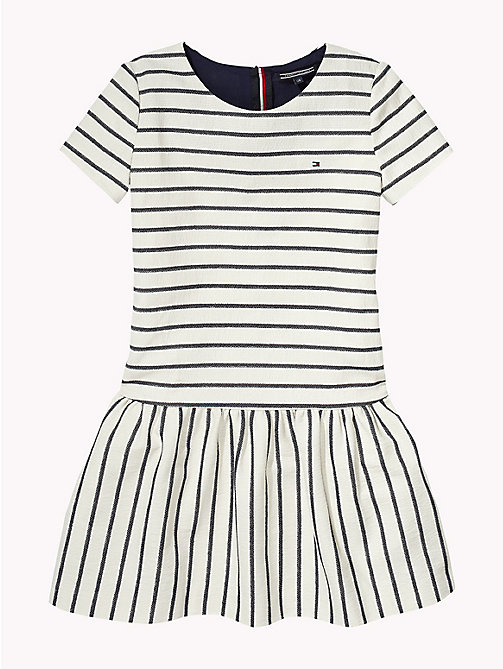 TOMMY HILFIGER Stripe Drop Waist Dress - BRIGHT WHITE/BLACK IRIS - TOMMY HILFIGER Girls - detail image 1