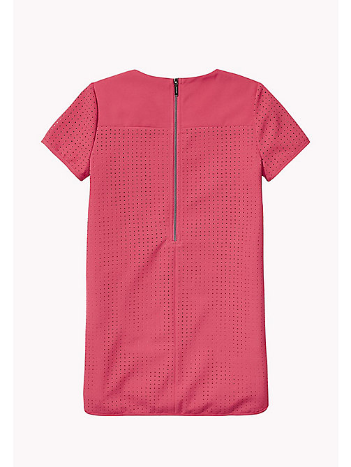 TOMMY HILFIGER Hole Punched Shift Dress - RASPBERRY WINE - TOMMY HILFIGER Girls - detail image 1