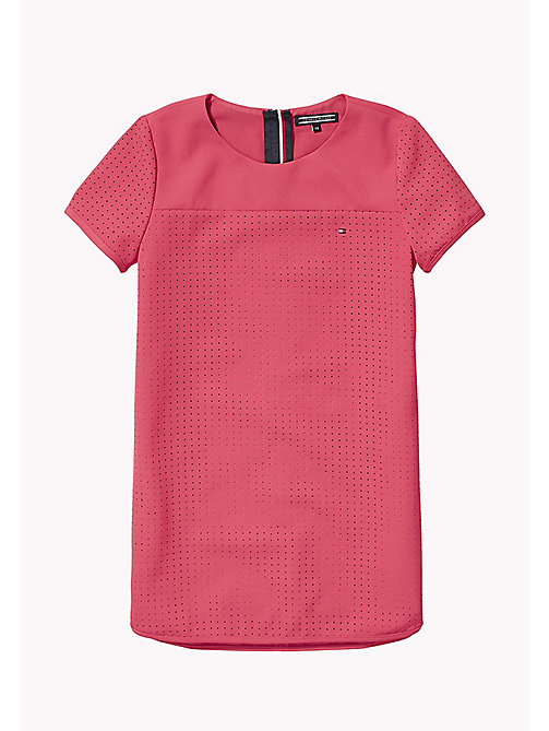 TOMMY HILFIGER Hole Punched Shift Dress - RASPBERRY WINE - TOMMY HILFIGER Girls - main image