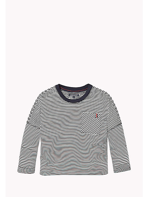 TOMMY HILFIGER Stripe Patch Pocket Jumper - BRIGHT WHITE/BLACK IRIS - TOMMY HILFIGER Tops & T-shirts - main image